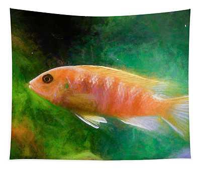Orange Cichlid Chalk Smudge Tapestry