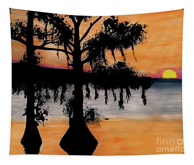 Orange Cypress Sunset Tapestry