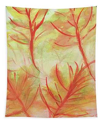 Orange Fanciful Leaves Tapestry