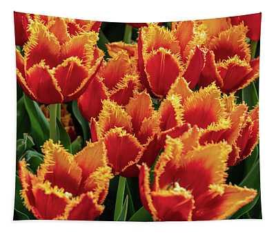 Orange Fringe Tulips Tapestry