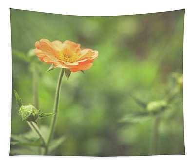 Orange Garden Flowers Tapestry