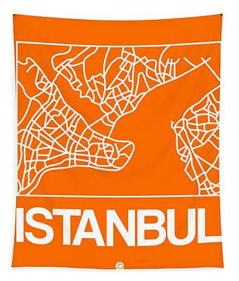Orange Map Of Istanbul Tapestry