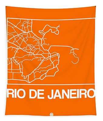 Orange Map Of Rio De Janeiro Tapestry