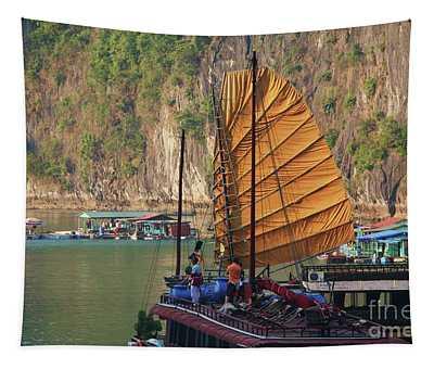 Orange Sails Vietnam Ha Long Bay Boat People Housing  Tapestry