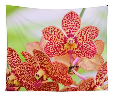Orange Spotted Orchids Tapestry