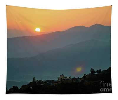 Tapestry featuring the photograph Orange Sunrise Above Mountain In Valley Himalayas Mountains by Raimond Klavins