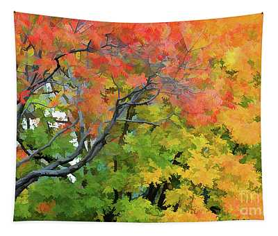 Orange Yellow, Greens Leaves Up Close Autumn  Tapestry