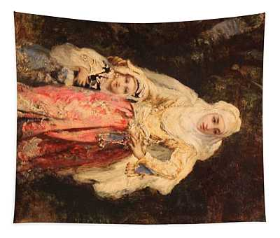 Oriental Woman With Her Daughter  Tapestry