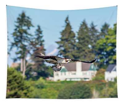 Osprey Flying In With Flatfish Tapestry