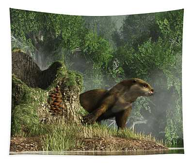Otter By A Stump Tapestry