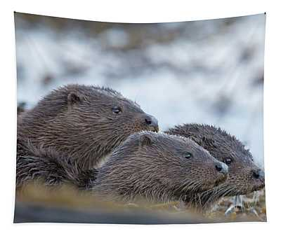 Otter Mother With Two Cubs Tapestry