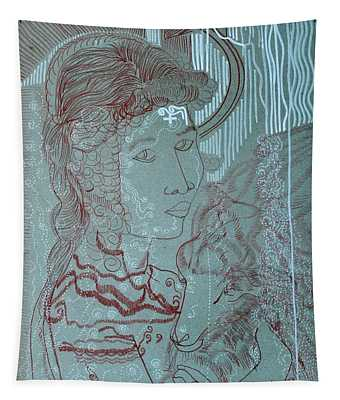 Our Lady Of Asia Mary Mother Of Jesus Christ, Divine Shepherdess Tapestry