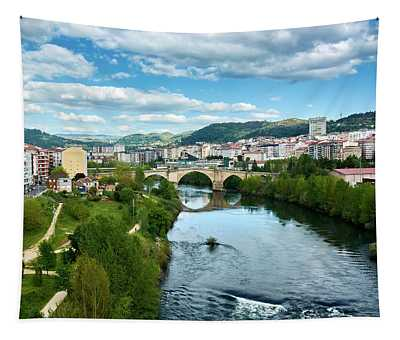 Ourense And The Roman Bridge From The Millennium Bridge Tapestry
