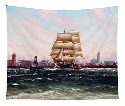 Outgoing Ships At The Port Of Wismar By Alfred Jensen Tapestry
