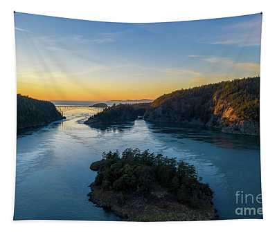 Over Deception Pass At Sunset Tapestry
