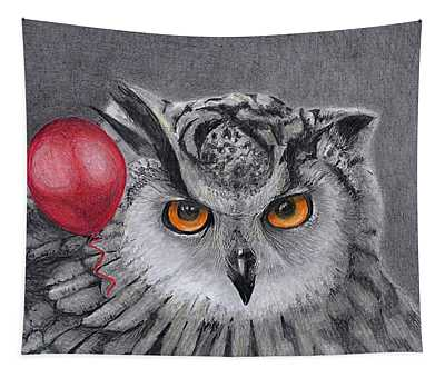 Owl With The Red Balloon Tapestry