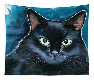 Ozzy Black Cat Painting Tapestry