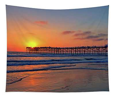Pacific Beach Pier Sunset Tapestry