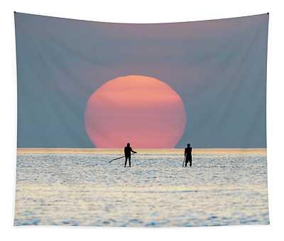 Sunrise Paddle Boarding Tapestry