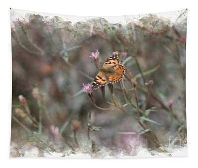 Painted Lady Butterflies In Digital Watercolor Tapestry