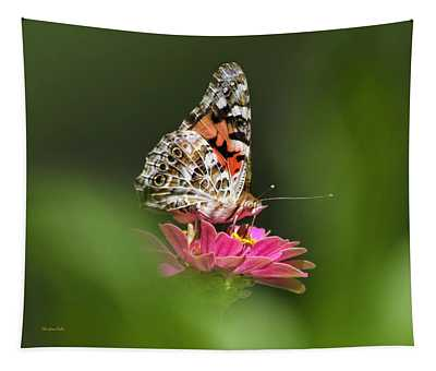 Tapestry featuring the photograph Painted Lady Butterfly At Rest by Christina Rollo