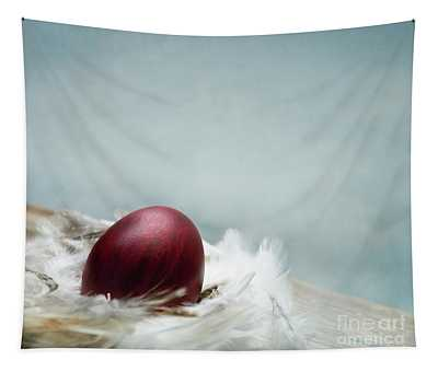 Painted Red Easter Egg In Bird Feather Nest Over Vintage Blue Ar Tapestry