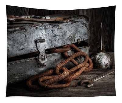 Painted Toolbox And Chain Tapestry