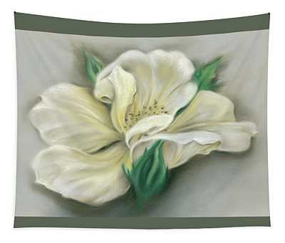 Pale Yellow Rose And Green Rosebuds Tapestry