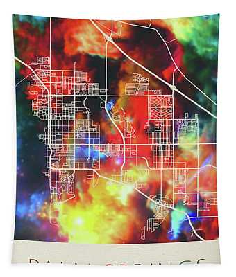 Palm Springs California Watercolor City Street Map Tapestry
