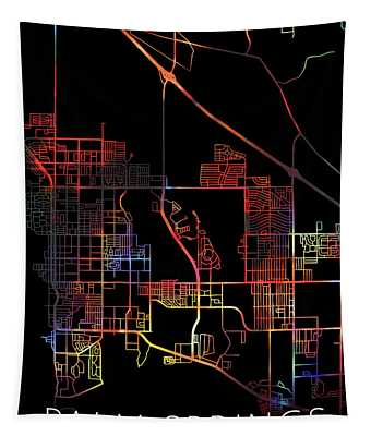 Palm Springs California Watercolor Street Map Dark Mode Tapestry