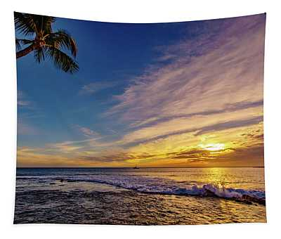 Palm Wave Sunset Tapestry