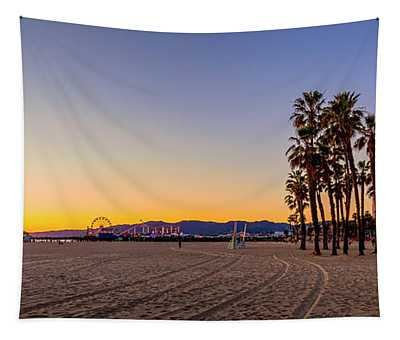 Palms And Pier Tapestry