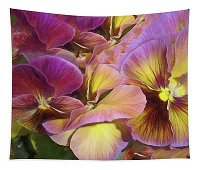 Pansy Field In Violet And Yellow 12 Tapestry