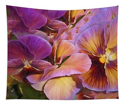 Pansy Field In Violet And Yellow 6 Tapestry