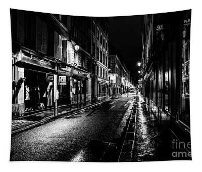 Tapestry featuring the photograph Paris At Night - Rue De Vernueuil by Miles Whittingham