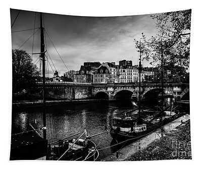Tapestry featuring the photograph Paris At Night - Seine River Towards Pont Neuf by Miles Whittingham