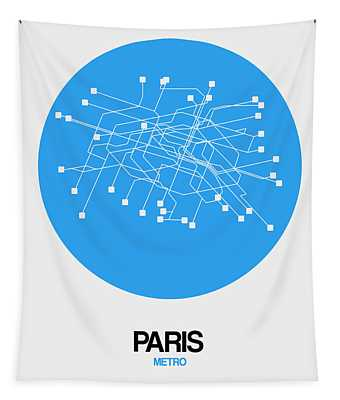 Paris Blue Subway Map Tapestry