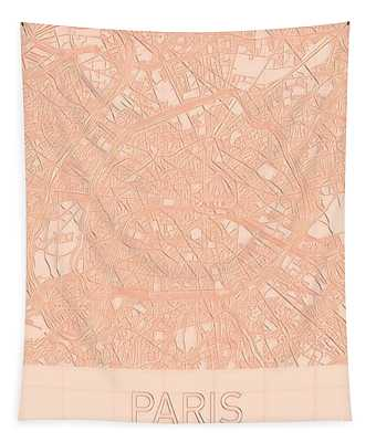 Paris Blueprint City Map Tapestry