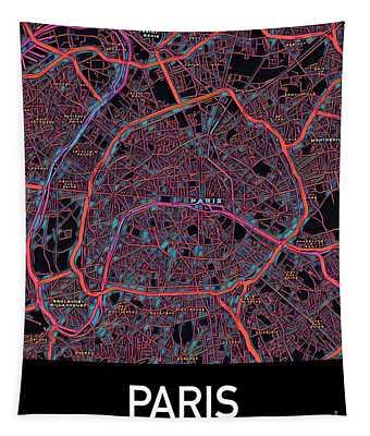 Paris City Map Tapestry