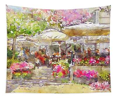Parisian Cafe In The Spring 3 Tapestry