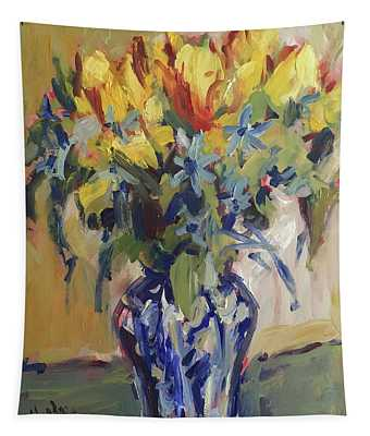 Parrot Tulips In Delft Blue Vase Tapestry