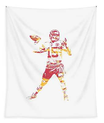 Patrick Mahomes Kansas City Chiefs Apparel T Shirt Pixel Art 1 Tapestry