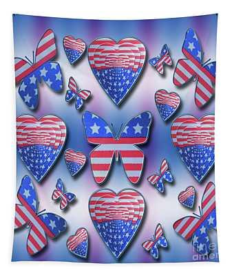 Patriotic Butterflies Hearts Tapestry