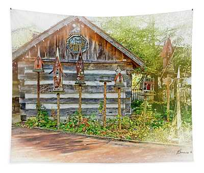Patty's Birdhouse Cabin Tapestry