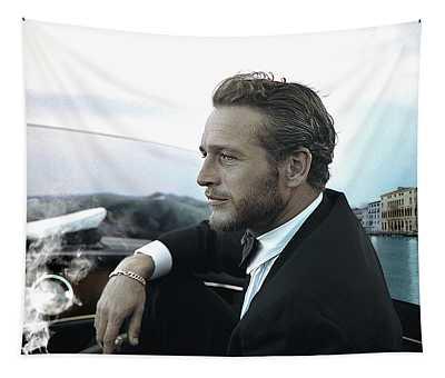 Life Is A Journey, Paul Newman, Movie Star, Cruising Venice, Enjoying A Cuban Cigar Tapestry