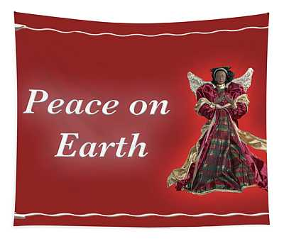 Peace On Earth Angel Red Tapestry