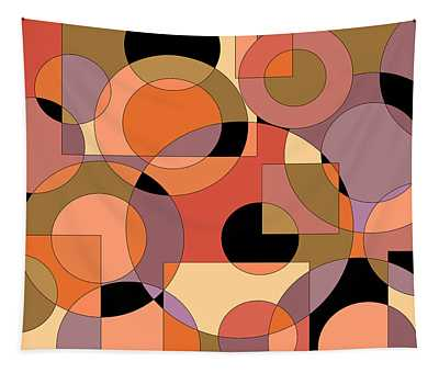 Peach Circle Abstract Tapestry