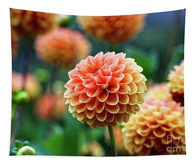Peach Dahlias Tapestry