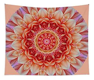 Peach Floral Mandala Tapestry