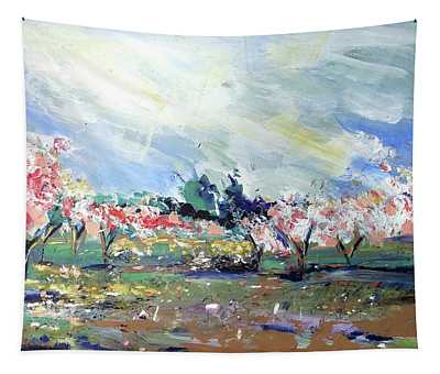 Peach Trees Tapestry
